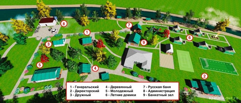 "Карта территории базы отдыха ""Зотино"""